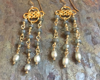 Labradorite and freshwater pearl gold chandelier earrings