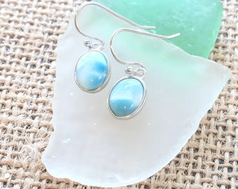 Oval  Larimar Earrings with  925 Sterling Silver  - Dominican Larimar - Calming Stone