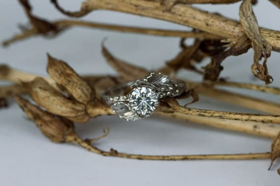White gold moissanite leaf engagement ring, twig moissanite engagement ring