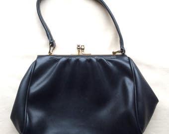 Vintage 40s 50s small faux leather handbag, black frame handbag with top strap.