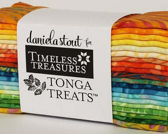 "Happy Hour ""6-pack"" Batik Fabric Strips; 6"" x 43""; 20 Strips; Tonga Treats 6Pack Timeless Treasures; Precut Fabric"