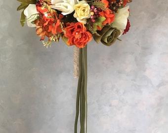 Silk Two piece WEDDING FLOWERS bouquet  fall