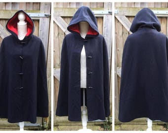 "Vintage 1940's 1950's ""Nurse"" Style Wool Hooded Cape - Medical - Call the Midwife - Navy"