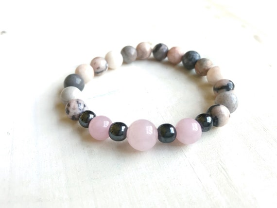 Pink Zebra Jasper Bracelet, Boho Chic Jewelry, Mala Inspired, Yoga Jewelry, Natural Healing Bracelet, Balance and Grounding Bracelet