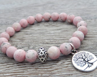 Rhodochrosite Bracelet, Meditation Bracelet, Yoga Bracelet, Wrist Mala, Prayer Beads, 4th Chakra, Reiki Energy