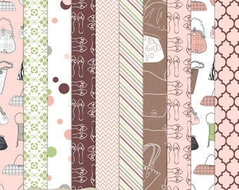 Digital Printable Scrapbook Craft Paper - A4 - Feminine Style - Girly, Purse, Handbag, Fashion, Shoes, Pink, Brown - PU/CU Commercial Use