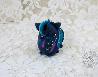 Cute Polymer Clay Miniature Unicorn Figurine Collectible / Galaxy Unicorn Totem Sculpture