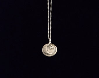 Fine Silver Moon and Star Necklace on a Sterling Silver Chain | Precious Metal Clay