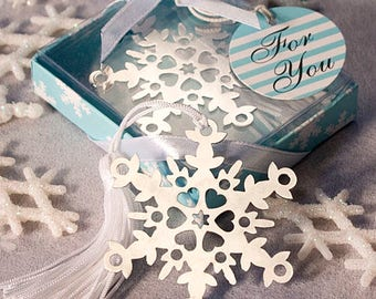 Snowflake Bookmark Winter Wedding Party Favor 36-100 Qty  6472