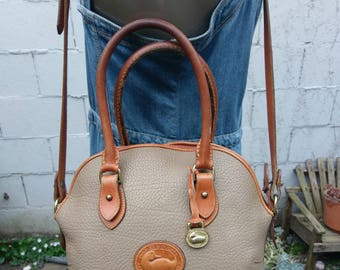 Dooney & Bourke 1980s All Weather Leather Shopper Tote Dome Satchel Doctor Bag Purse Handbag Taupe and British Tan Crossbody Bag