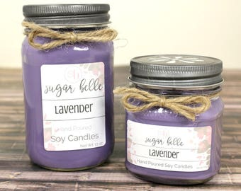 Lavender Candle - Scented Soy Candles -  Mason Jar Candles - Soy Candles Handmade - Gifts for Her - Hand Poured Candle - Clean Burning