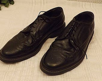 80s Vintage Black Full Brogue Classic LWB Wingtip Shoes Size 11