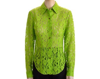 Vintage Blouse, Women's Green Blouse, Floral Blouse, 1990s Blouse,  Italian Lace Blouse, Kenneth Richard, Women's Clothing, Gift For Her