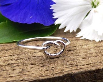 Silver Knot Ring, Tie the Knot Ring, Bridesmaid Ring, Love Knot, Sterling Silver Promise Ring, Best Friend Gift