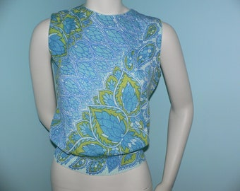 1960s Teal Print Shell Top  Ship n' Shore, Size M, New Old Stock