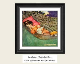 Vintage Girl Printable Wall Decor INSTANT DOWNLOAD Art Old Picture Digital Jessie Willcox Smith