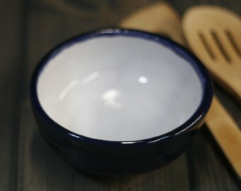 Blue, Dark Blue outside with White inside, decorative Bowl, Soup, Salad, Prep Bowl, Handmade