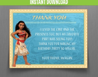 Disney Moana Thank you Cards - Instant Download - Edit and print at home with Adobe Reader - Moana Birthday - Moana Party