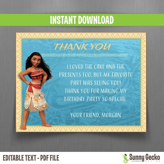 Disney Moana Thank You Cards Instant Download Edit And