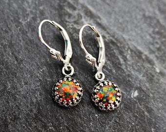 Black Fire Opal Earrings, Sterling silver, Lever Back Style