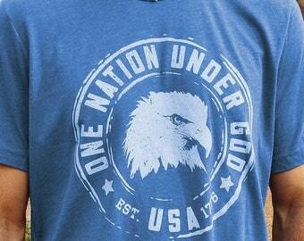 Patriotic Shirt for Men // One Nation Under God // USA Shirt America // Christian Shirts Men // Vintage Blue Tri-Blend Crew