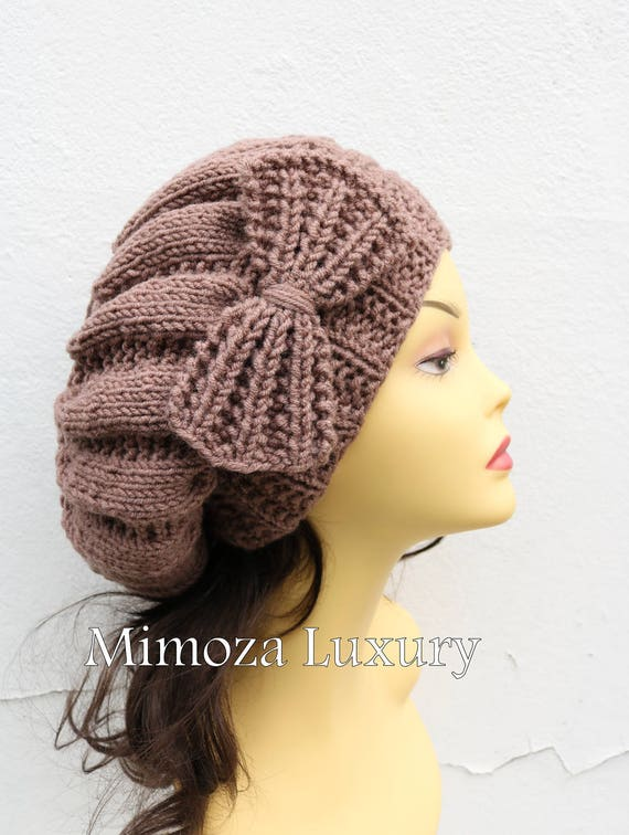 Taupe Mocha Brown Woman Hand Knitted Hat with Bow, taupe Beret hat with bow, mocha knit hat, slouchy knit women's hat with bow, winter hat