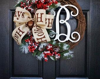 Christmas Grapevine Wreath with Burlap. Christmas Wreath. Holiday Wreath. Winter Wreath. Door Wreath. Monogram Wreath. Artificial Wreath.