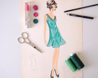 Digital printing/poster/green cocktail dress pattern design tailoring 50 years '