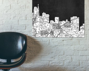 Perfect Hartford Skyline, Black And White Art,Black And White Skyline, Hartford Map,