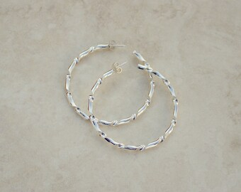Size 4 Silver Twist Forged Hoops, Argentium Silver Hoops, Silver Hoop Earrings, Handforged Silver, Everyday Earrings