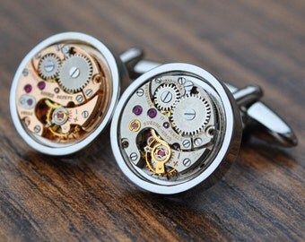 Bueche-Girod and Gruen Watch Movement Cufflinks - Steampunk Vintage Wedding Groom Gift Mens Christmas Present
