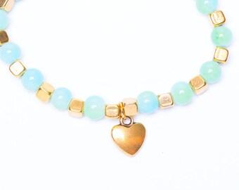 Beaded Heart Bracelet | Stretch Bracelet | Stretch Charm Bracelet | Gold Heart Jewellery