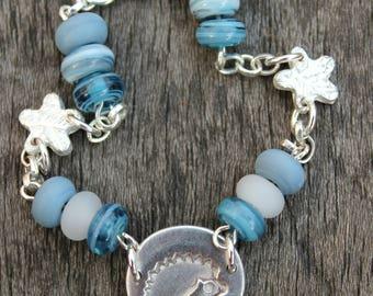 Hedgehog bracelet, bead bracelet, silver and bead bracelet, blue bead bracelet, hedgehog bead bracelet