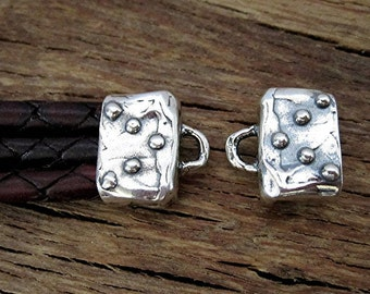 Dotted Artisan Leather Cord Cap Ending and End Bar in Sterling Silver (one pair) (N)