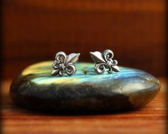 Fleur de lis post earrings, Sterling silver Fleur de lis earrings