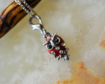 Red Owl Charm Necklace, Owl Pendant, Red Enamel Owl Pendant, Owl Charm, Lobster Clasp Owl Charm.