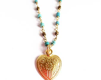 Turquoise and Hematite Heart Necklace / Turquoise and Hematite Choker / Heart Charm Choker / Turquoise and Hematite Necklace