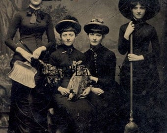 Vintage Image Real Life Photo of Witches for Halloween Digital Download Printable