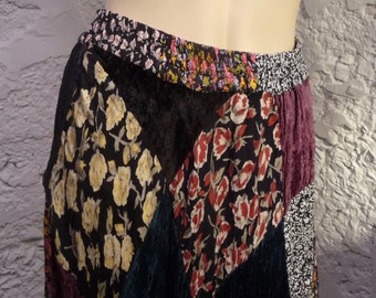 Skirt long multicolor patchwork Gypsy Worthington printed velvet peasant style