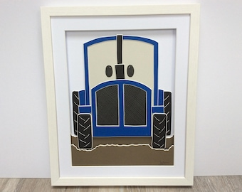 Blue Tractor. Hand cut and assembled childrens art. Professionally framed. Unique childrens gift.