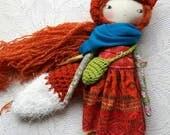 "orange haired rusty fox lu girl - 14""ish handmade cloth doll with long dark orange hair and freckles"