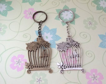 Large Birdcage Keychain in Bronze or Silver - Ready to Ship