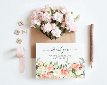 Peach thank you etsy thank you card wedding thank you thank you card template peach flowers thank pronofoot35fo Images