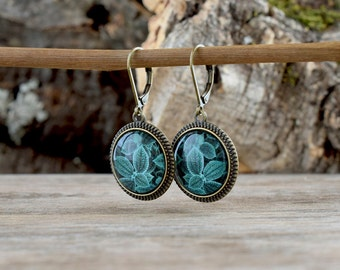 Teal leaves dangle earrings, Green blue earrings, Nature earrings, Leaf earrings, Glass dome earrings, Leaves earrings, Leaf jewelry NJ 019
