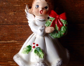 1950's Bone China Christmas Angel with Wreath Figurine. Made in Japan. Josef Originals