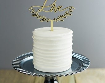 Love with Half Wreath Cake Topper