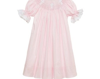 Smocked Cross Bishop Dress - Pink with Lace