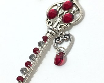 Red Key Necklace ~ Swarovski Crystal Ruby Necklace ~ Skeleton Key Necklace ~ Wire Wrapped Key Necklace ~ Silver Key Necklace
