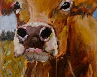 Cow 151 KING TUT small original cow oil painting by Jean Delaney size 6 x 8 inch on 1/8th inch gesso board