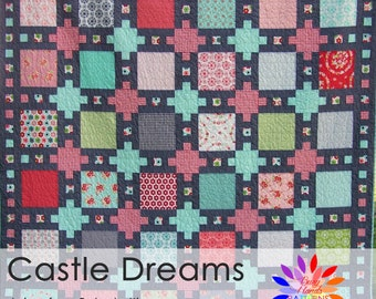 Castle Dreams, Quilt Pattern, Layer Cake, PDF Pattern, Patchwork, Scrappy, Baby, Lap, Twin, Queen, King, Busy Hands Patterns, BHQ1016014